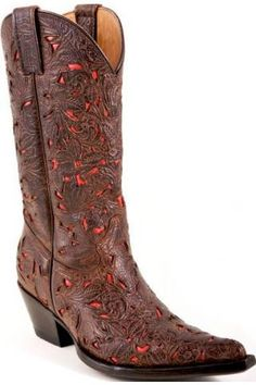 coral  color cowboy boots for women | Tan Tooled Dk Brown Floral/coral Underlay Stetson Ladies Fashion Boot