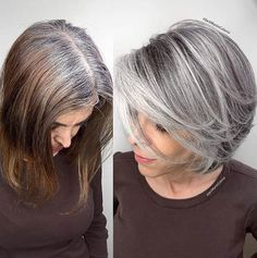 Brassy damaged hair to healthy icy silver. I started the long process by cutting the hair bob with layers because I believe in Stunning Grey Hair Color Ideas and Styles Grey or silver hair seems to have become a bit of a \thing\ recentl Silver Hair Highlights, Color Highlights, Grey Hair Lowlights, Growing Out Highlights, Grey Hair With Blonde Highlights, Chunky Highlights, Caramel Highlights, Brown Balayage, Blonde Balayage