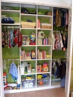 Organized closet for shared kids room