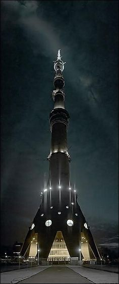 The Ostankino Tower - Moscow, Russia  -  a radio/television tower  -  built 1963-1967  -  as of 2013  -  at 1,600 feet high, it's the tallest free-standing structure in Europe...6th tallest in the world.
