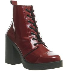 Office Live Wire Lace Up Boots ($62) ❤ liked on Polyvore featuring shoes, boots, ankle booties, ankle boots, burgundy, women, lace up boots, lace up platform booties, chunky-heel ankle boots and high heel booties