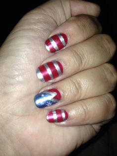 Patriotic flag shellac nails by Cheryl
