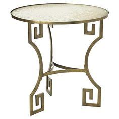 Dunmoore Greek Key Brass/Mirror Side Table | Arteriors