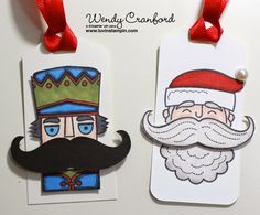 Santa Stache Christmas Tags, Freebie Friday, STampin UP Santa Stache stamp set used to make these christmas tags.  Great way to dress up a package!