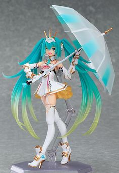 The official character of the 2015 Hatsune Miku GT Project! Racing Miku is back as a figma again in her 2015 ver. outfit, based on the official illustration by Taiki that has Miku dressed as a knight, ready to charge into first place! The fig. Anime Hatsune Miku, Marchandise Anime, Mega Anime, Anime Toys, Action Figures Anime, Goodies Manga, Anime Girls, Chibi, 3d Fantasy