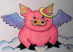 "Aceo  Original  ATC   "" ANGEL PIG 3  ""    pencil / ink #OutsiderArt"
