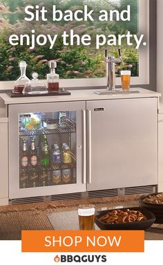 Browse our wide selection of outdoor wine coolers and kegerators. Conveniently serve draft beer or chardonnay while grilling or simply entertaining outdoors. Outdoor Bar Furniture, Outdoor Rooms, Outdoor Living, Backyard Furniture, Furniture Ideas, Patio Kitchen, Outdoor Kitchen Design, Outdoor Bbq Kitchen, Kitchen Decor
