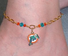 Miami Dolphins Inspired Teal and Orange Crystal Chain Anklet
