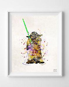 Yoda Print Yoda Poster Star Wars Poster Yoda Art by InkistPrints
