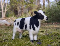 Cow wool felted handmade animal by WildThingsMaine on Etsy