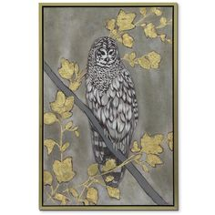 Golden Owl. Muted blues and grays strike the owl's plumage as life-like, a feature contrasted by a rough-hewn gold filigree that extends further dimension in the Coat of Arms framed print. The gold frame rounds out this artistic piece.