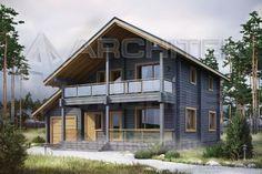 Проект коттеджа Проект деревянного дома из бруса с мансардой, гаражом, балконом, террасой 12.2х12.8 G-092-2D.