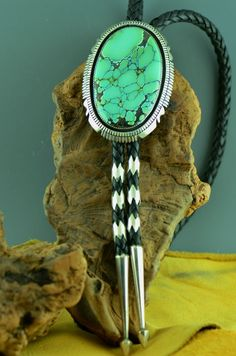 Navajo – Exquisite Sterling Silver Sky Horse Turquoise Bolo Tie with Sterling Silver Tips by Garrison Boyd (Private Collection)