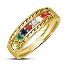 14K Yellow Gold Finish Multi-Color Stones Navratna Gemstone Womens Band Ring…