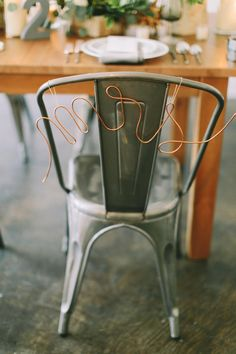 """Copper """"Mrs"""" chair decor- LOVE! see more: http://theeld.com/1yLN2Ug"""