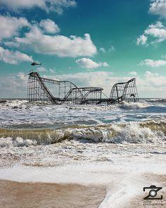 Seaside Heights, NJ ~ Look where Hurricane Sandy put our roller coaster :( Abandoned Theme Parks, Abandoned Amusement Parks, Abandoned Places, Jersey Girl, New Jersey, Seaside Heights, Amusement Park Rides, Long Beach Island, Asbury Park