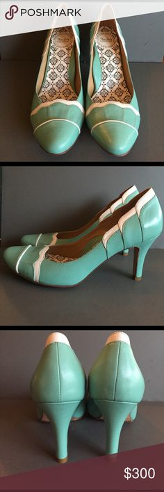 "Hey Lady Leung Twins At Tiffany's Heels Size 6.5 Hey Lady By the Leung Twins ""At Tiffany's"" Heels (Size 6.5) with a 2.5"" heel - NEW AND NEVER WORN! Bought for my wedding but decided to go with white shoes instead and can no longer return. Comes with box and dust bag. Gorgeous vintage style Tiffany Blue and white shoes with low heel and comfortable arch. Anthropologie Shoes Heels"