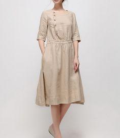 Round Collar Slanting Button Linen Dress-zeniche.com SKU aa0191
