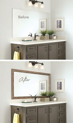 Blah Before, Beautiful After. Frame the bathroom mirror in minutes with MirrorMate.