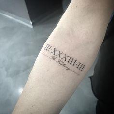 Strong Tattoos, Dad Tattoos, Sleeve Tattoos, Tattoos For Guys, Tatoos, Mens Roman Numeral Tattoo, Roman Numbers Tattoo, Roman Numerals, Clavicle Tattoo