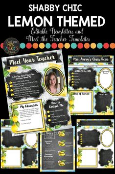 "This packet of EDITABLE lemon classroom theme Meet the Teacher & Class Newsletters templates is a ZESTY way to introduce yourself on Meet the Teacher, Open House, or Back to School Night! Your students and parents will LOVE being ""in the know"" throughout the school year. Whether you print them or upload them to your classroom website, you will love how they coordinate with your other shabby chic, lemon themed classroom decorations. Click here to take a look! #lemonclassroomtheme #lemonclassr"