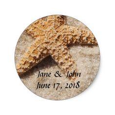 Beach Wedding Starfish Stickers - wedding stickers unique design cool sticker gift idea marriage party