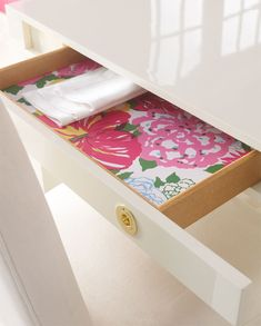You should always line drawers and shelves with pretty paper.