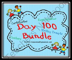 Day 100 Giveaway - This Day 100 Mega Bundle is filled with reproducible, readers, certificates and even centers that your students will love!.  A GIVEAWAY promotion for Day 100 Literacy and Math Mega Bundle from Can You Read It on TeachersNotebook.com (ends on 1-22-2014)