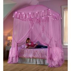 Bed Canopy With Lights, Canopy Over Bed, Kids Canopy, Bed Lights, Toddler Canopy Bed, Pink Bed Canopy, Room Ideas Bedroom, Bedroom Decor, Bedroom Designs