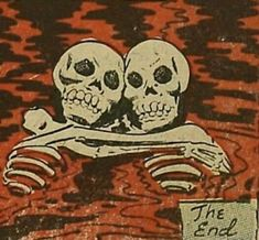 Retro Vintage The End Skeletons in Love. La Danse Macabre, Comics Vintage, Retro Vintage, Vintage Pop Art, Arte Obscura, Arte Horror, Red Aesthetic, Dark Art, Cartoon Network