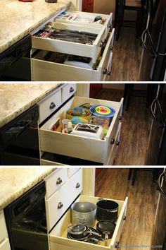 """A 39"""" wide stack of drawers is packed full of amazing storage in a Moline, IL #kitchen featured on our blog.    