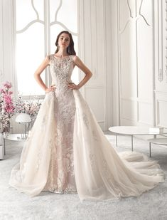 6cbf3aaf1a Demetrios - Wedding Dress Style 825   Magnificent beaded lace embroidery  embellishes this modified A-