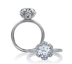 A. JAFFE's ME1622 Floral Petals Engagement Ring!