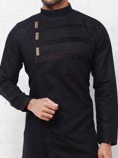 Solid black color cotton fabric kurta suit com is part of Boys kurta design - Shop Solid black color cotton fabric kurta suit online from India Brand Product code Price Color Black, Fabric Cotton, African Wear Styles For Men, African Shirts For Men, African Dresses Men, African Attire For Men, African Clothing For Men, Mens Clothing Styles, Men's Clothing, Mens Kurta Designs, Latest Kurta Designs