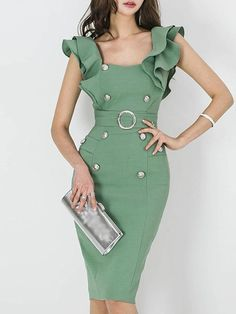 Bodycon Going out Vintage Sleeveless Buttoned Midi Dress guest outfit petite Daytime Dresses, Dresses For Teens, Trendy Dresses, Cute Dresses, Vintage Dresses, Casual Dresses, Fashion Dresses, Summer Dresses, Office Dresses