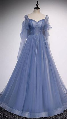 Pretty Prom Dresses, Ball Dresses, Cute Dresses, Tulle Prom Dress, Blue Ball Gowns, Blue Gown, Unique Dresses, Long Elegant Dresses, Formal Prom Dresses