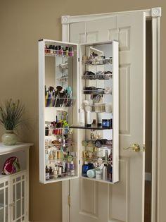 Clever over the door storage with mirror.