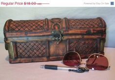May Sale Bamboo and Brass Chest with Handles Small by HobbitHouse #integritytt #vintage