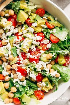 A simple Balsamic Chickpea Avocado Feta Salad full of Summery vibrant colours and flavours. Ready in under 5 minutes as a side or main! | http://cafedelites.com