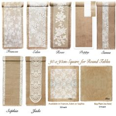 Our Summer 2014 Collection Rustic Vintage Hessian Burlap & Lace Table Runners made to measure Hire & Buy > Marrighi.com.au