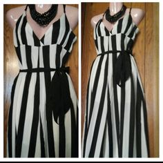 $23.00 Black &white sleeveless wide leg jumper with tie belt ♨Final Price! Other