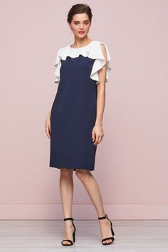 Belinda Frill Dress Navy and white Spring summer dress Dress First, New Dress, Frill Dress, Dress Shapes, Mothers Dresses, Plus Size Women, Mother Of The Bride, Bodycon Dress, Summer Dresses