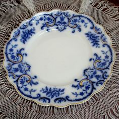 Plate Portman W H Grindley Blue White 1890s