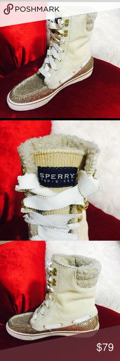 SPERRY TOP-SIDER GLITTER LACE UP BOOTS EXCELLENT PRE OWNED CONDITION SPERRY TOP SIDER LACE UP BOOTS A SUPER COMFORTABLE AND WARM GOLD GLITTERY BOOT THAT IS SURE TO STEAL THE STREETS✨✨💫 GOLD GLITTER/ SAND CORDUROY Sperry Top-Sider Shoes Lace Up Boots