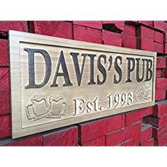Personalized Pub Wooden Sign Beer Mugs Rustic Home Décor Lake House Décor Man Cave Game Room Plaques Wood Signs