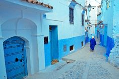 Rue Targui, - turquoise street - Chefchaouen, Morocco