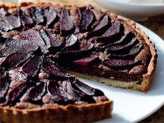 Mandla Mthiyane's pear, almond and chocolate tart