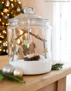 Christmas Cookie Jar Craft | Espon Salt | Tapered Corks Wrapped In Twine | Nativity