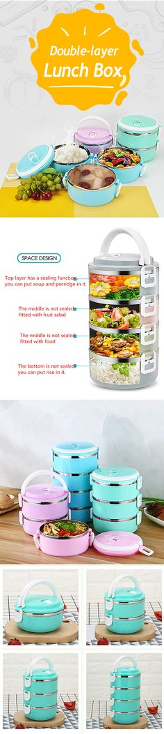 How to take the food in lunch box in 1 minute ? $5.5 Stainless Steel Double-layer Insulation Lunch Box Sealed Leak-proof Portable Dinnerware Sets