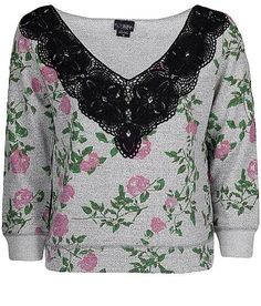 Womens Daytrip BKE Jeans Shirt Miss Size Small Sweatshirt Crop Top Floral Lace | eBay